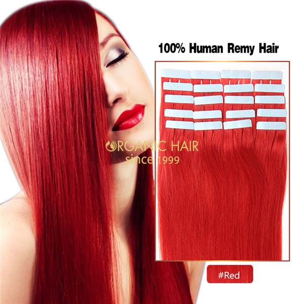 Red hair extensions tape in wavy hair extensions