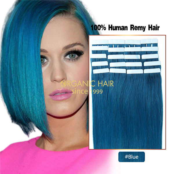 Cheap blue hair extensions before and after