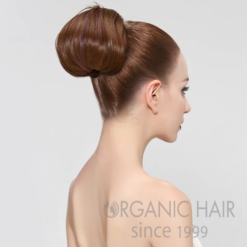 Top quality human hairpiece topknot hair extensions